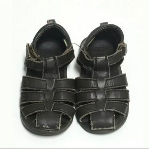 Janie and Jack Boys Toddler Brown Sandals Size 8